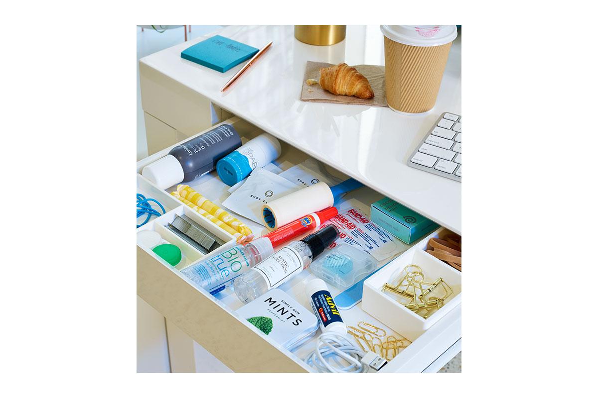 organized desk drawer at work