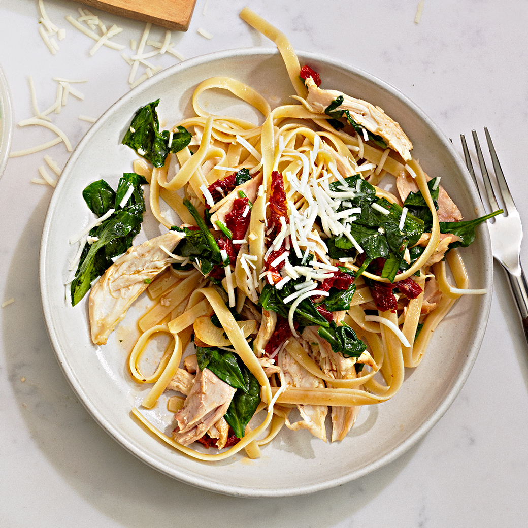 Store-bought rotisserie: Fettuccine with Chicken