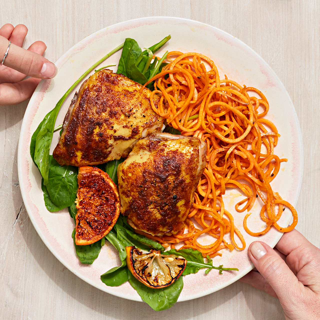 shawarma roasted chicken thighs and zoodles