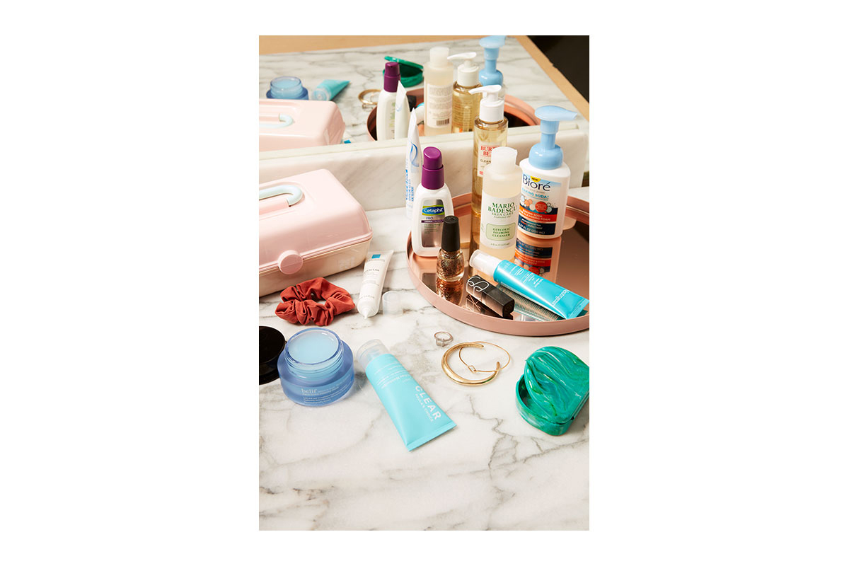 skincare products at home