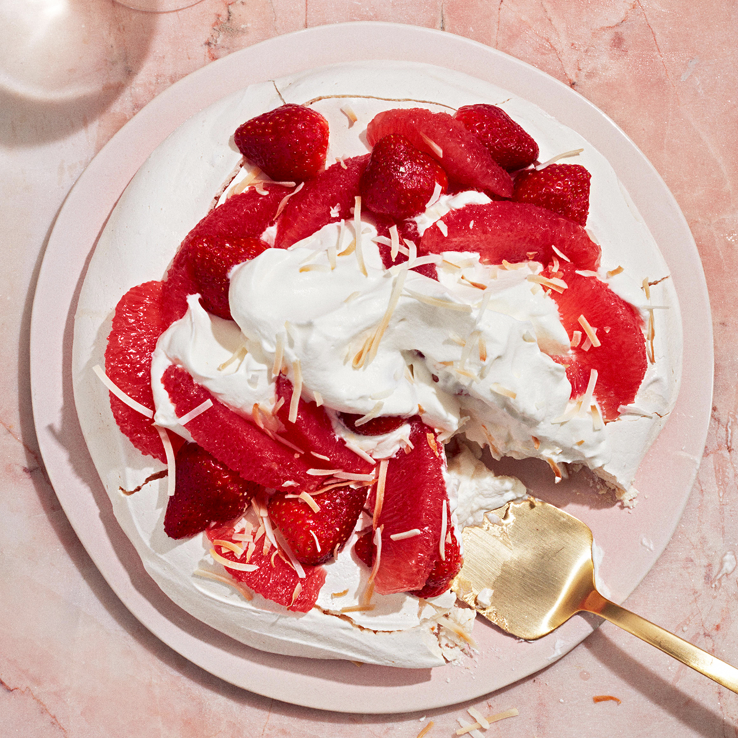 Strawberry, Grapefruit and Coconut Pavlova