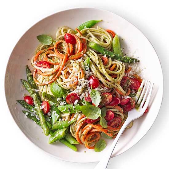 Spring Veggie Pasta with Basil Pesto Veggie Noodles