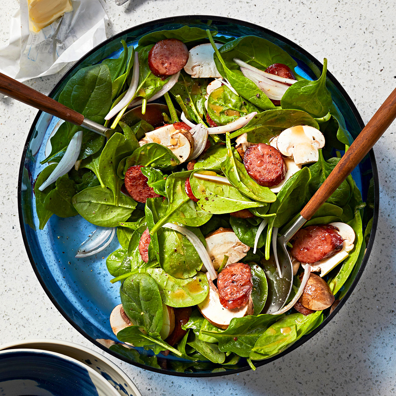 Spinach Salad with Warm Sausage Dressing