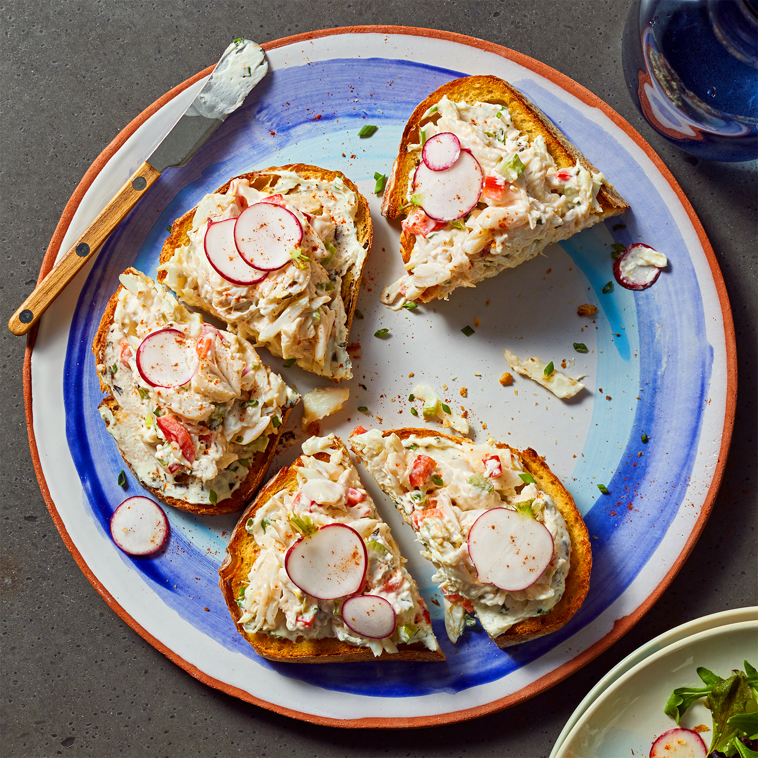 crab sandwiches with radishes