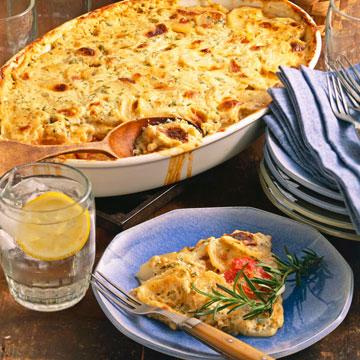 Tomato-Herb Cheese Potatoes Au Gratin