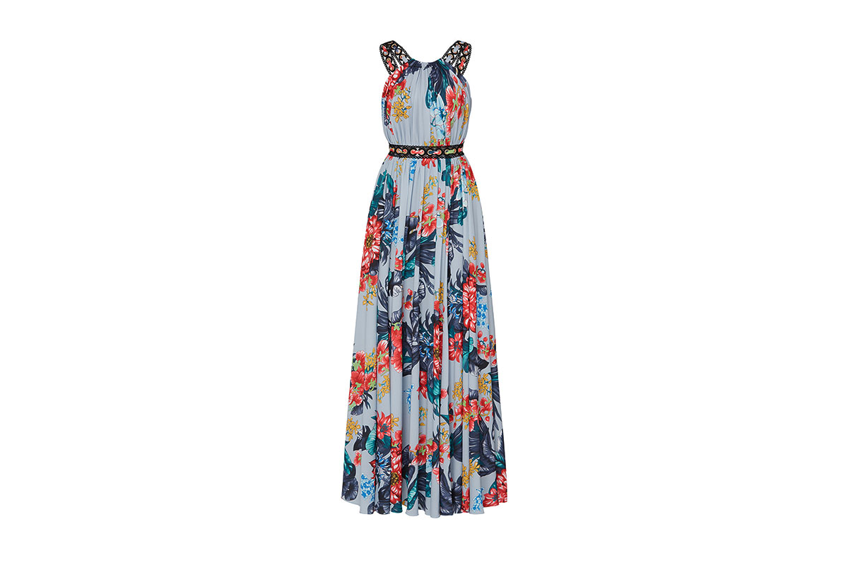 prom dress rental from Rent the Runway is a floral grommet maxi by Badgley Mischka