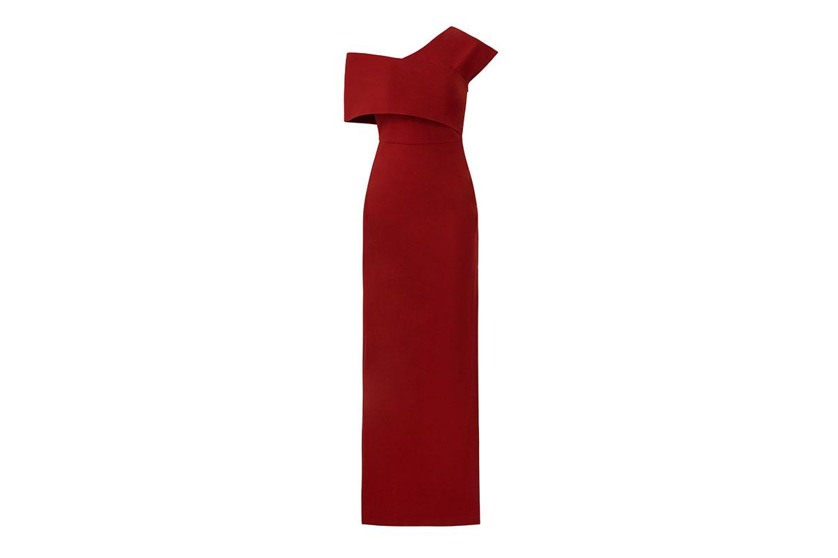 prom dress rental from Rent the runway is an Elliatt Rust Popover asymmetrical Gown