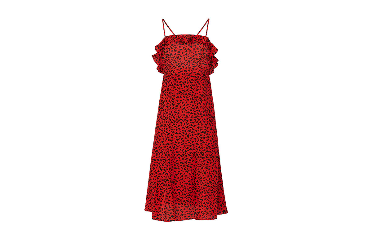 prom dress rental from Rent the Runway is the Leopard Long Red Silk Dress by The Kooples