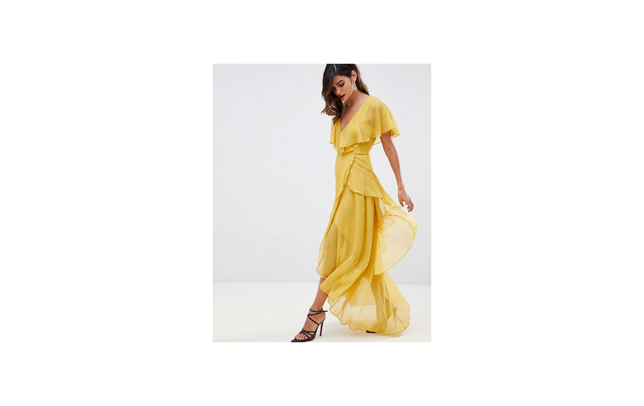 ASOS DESIGN maxi dress with cape back and dipped hem