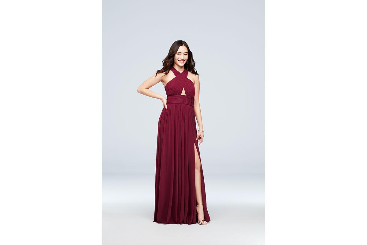 Haute Nites Cross-Front Mesh Halter Dress with Open Back