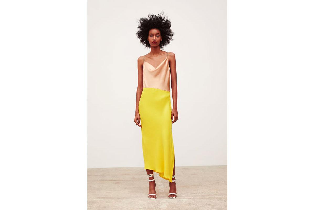 Zara Block Color Slip Dress