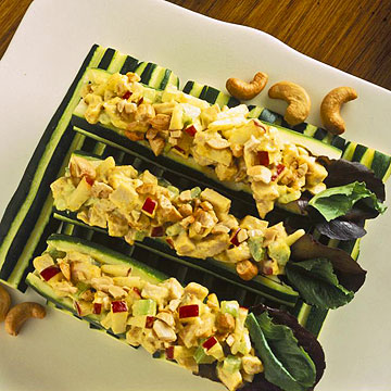 Zucchini Stuffed With Curried Turkey Salad