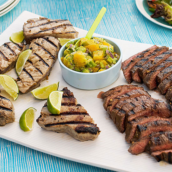New-Wave Surf and Turf with Avocado-Orange Salsa