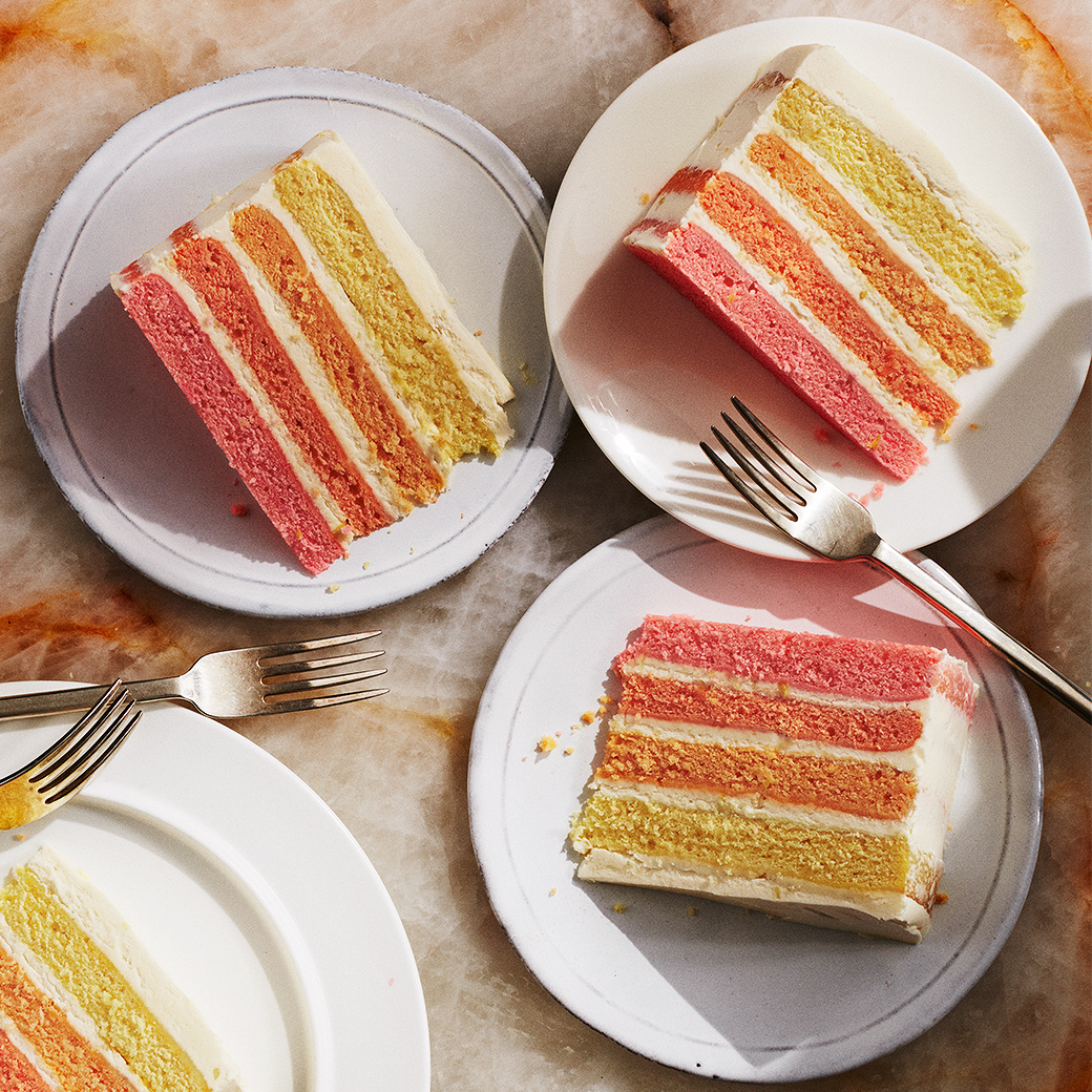 pink lemonade cake ombre dessert