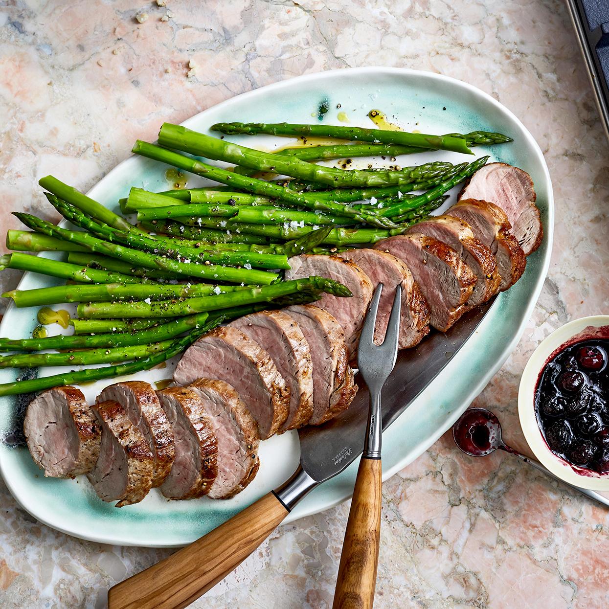 pork asparagus and blueberry balsamic