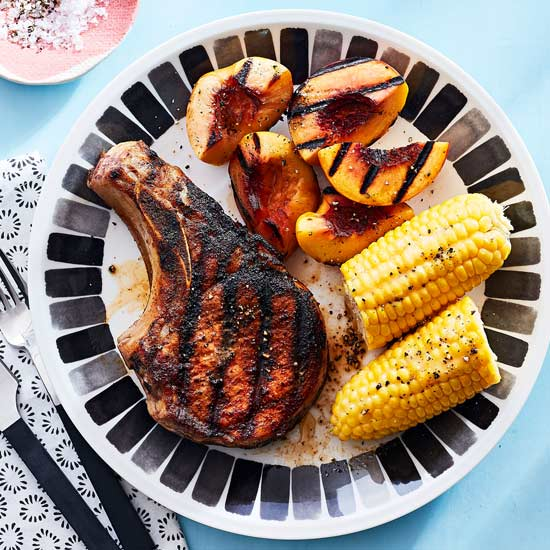 Spice-Rubbed Pork Chops with Grilled Nectarines