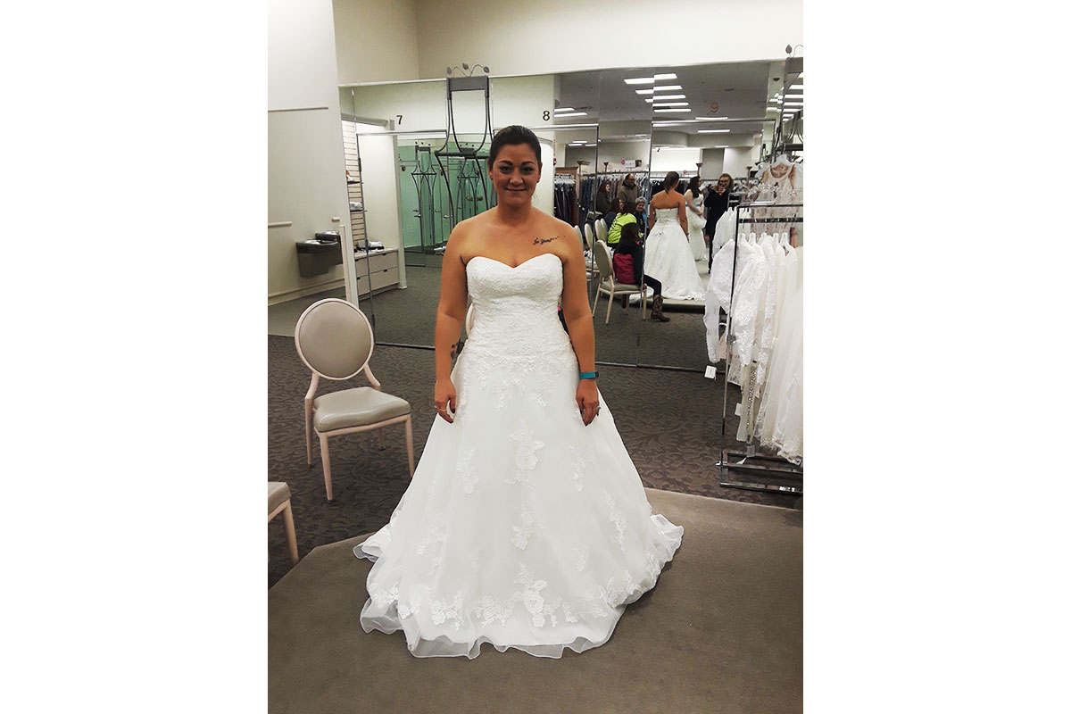 Melissa Mountain AFTER weight loss at wedding dress fitting
