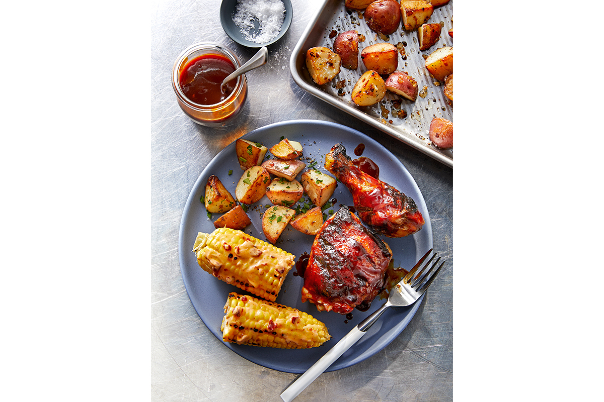 BBQ Chicken, Roasted Potatoes and Grilled Corn with Chipotle Butter