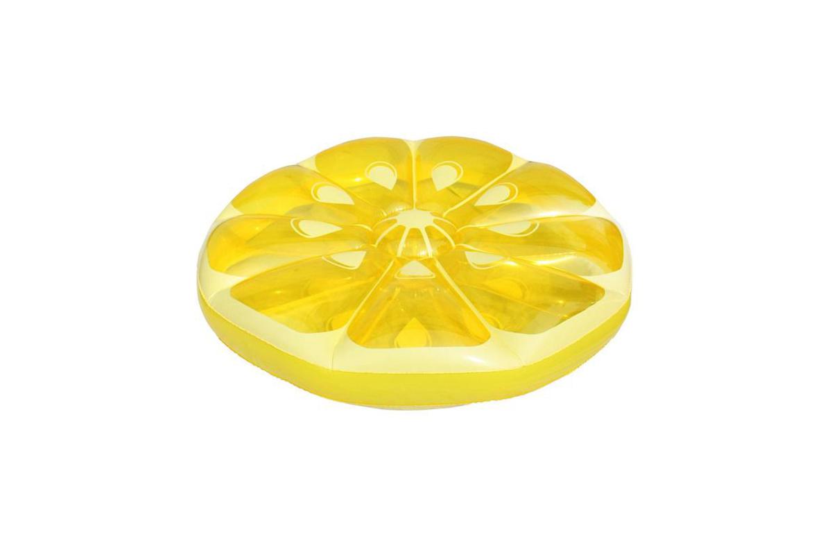"49"" Inflatable Yellow Lemon Fruit Slice Swimming Pool Island Lounger Raft Float"