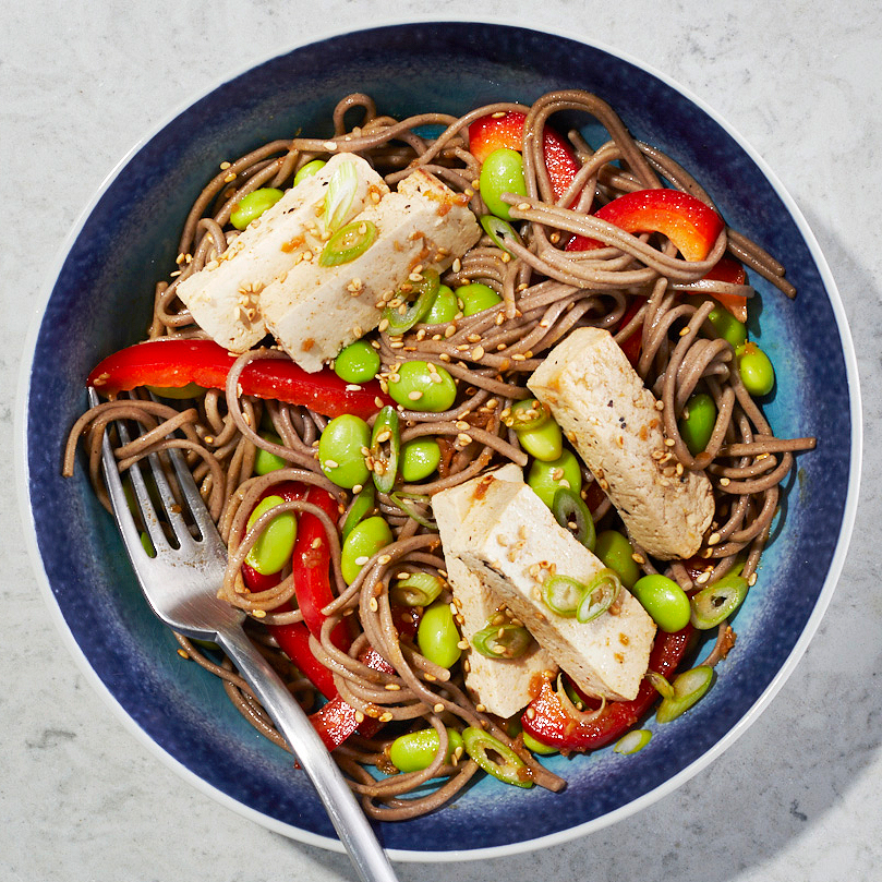 sesame noodle bowl with tofu