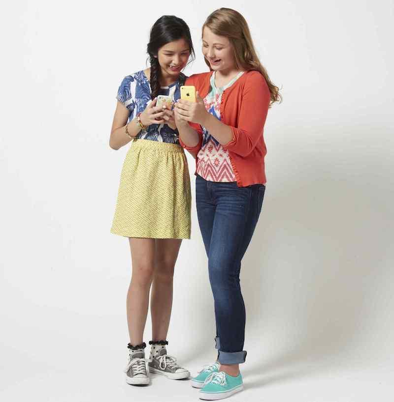 Teen girls on phone