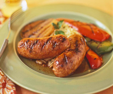 Grilled Veal Sausage and Onions