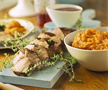 Pork Tenderloin With Mashed Sweet Potatoes