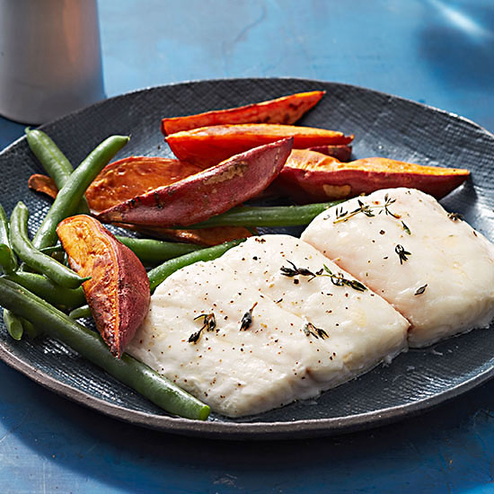 Roasted Halibut with Sweet Potato Fries and Green Beans