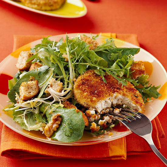 Baked Goat Cheese Salad with Homemade Croutons