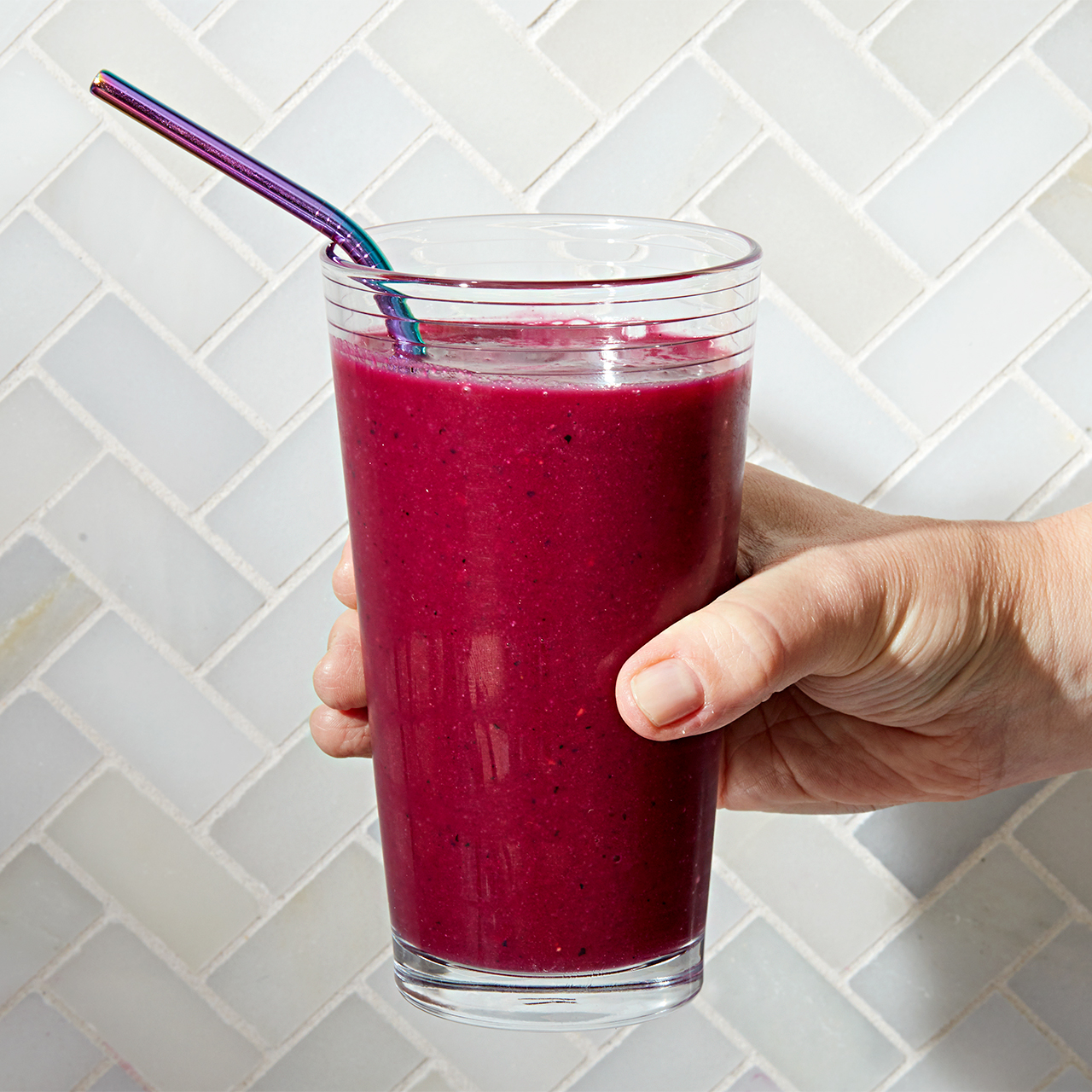 smoothie with berries beets bananas and basil
