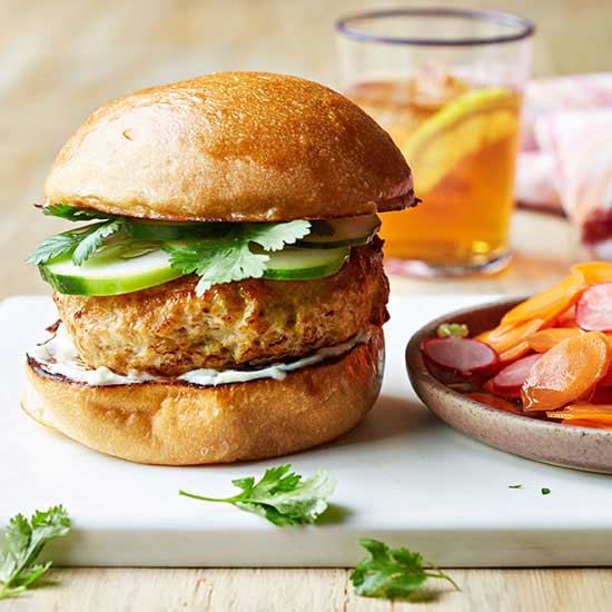 Southeast Asian Chicken Burger with Pickled Carrot and Radish