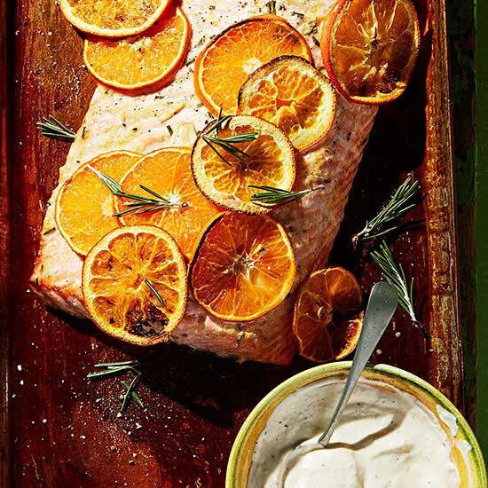 Roasted Salmon with Citrus Ginger Aioli