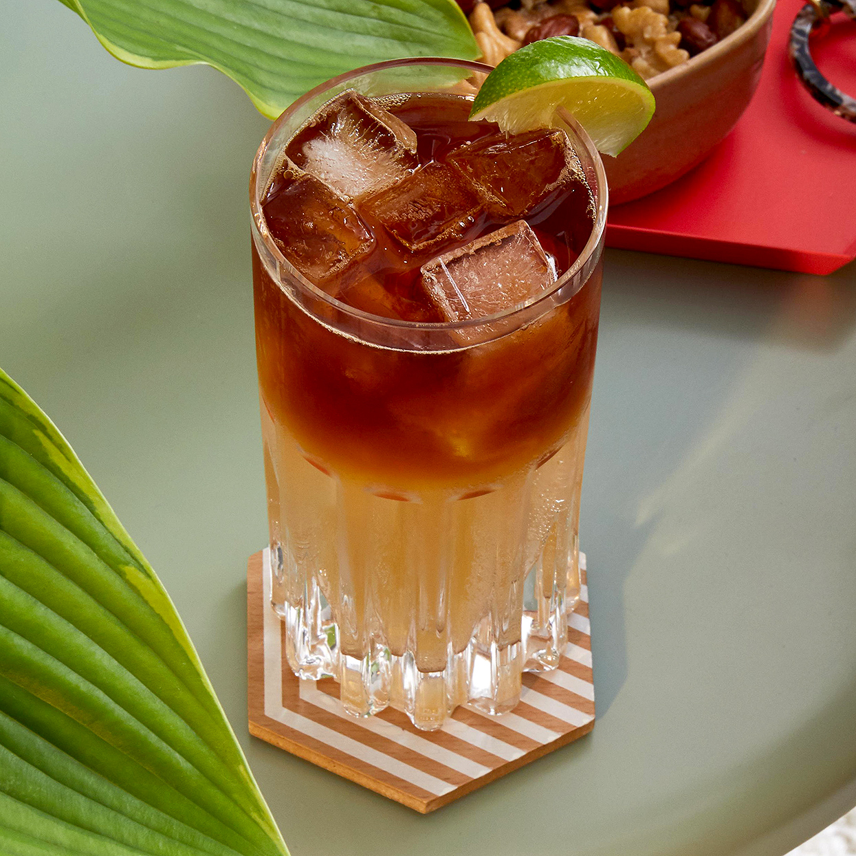 dark and stormy cocktail with lime