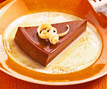 Hot Chocolate Flan with White Chocolate Sauce