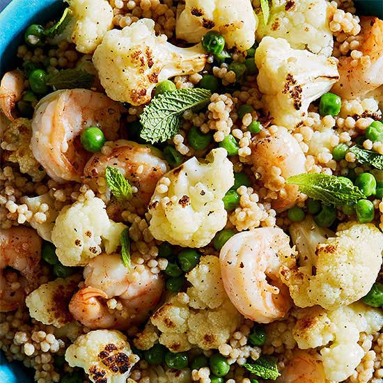 Israeli Couscous with Shrimp, Cauliflower, Peas and Mint