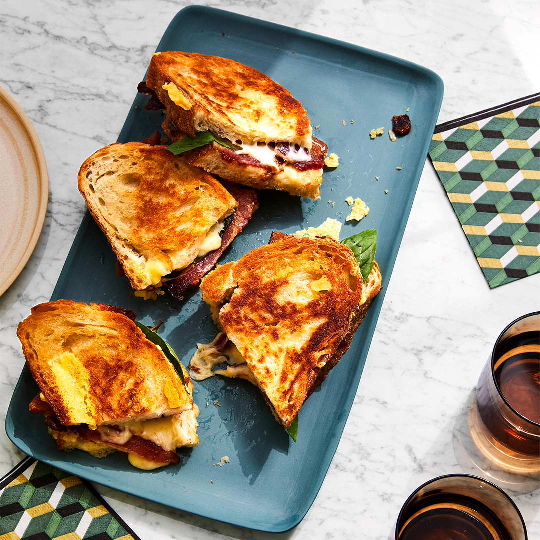 Fontina, Basil and Bacon Grilled Cheese
