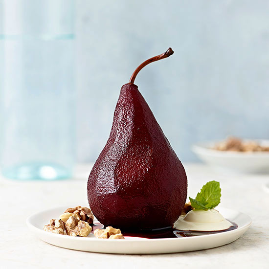 Poached Pears with Creme Fraiche