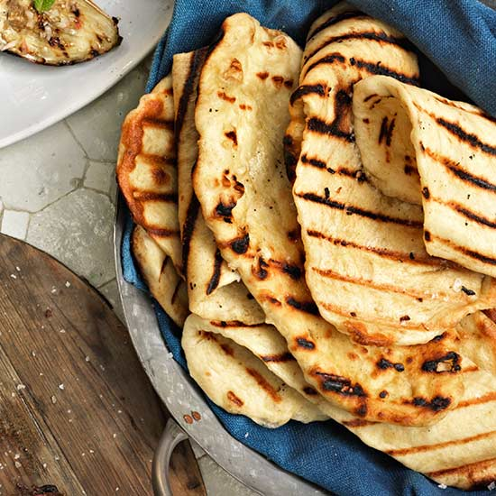 Grilled Flatbreads with Garlic-Rosemary Oil