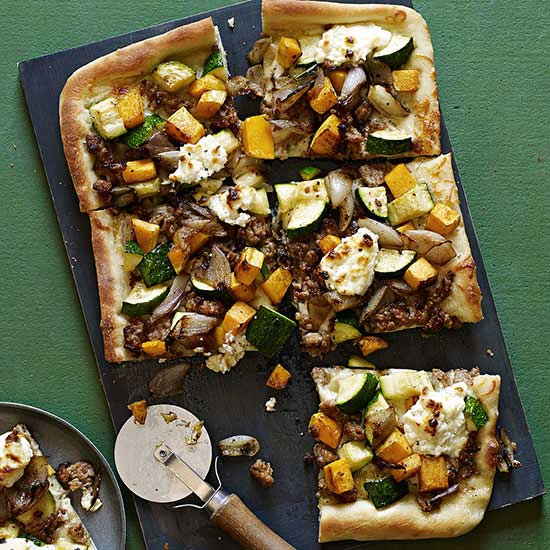 Roasted Vegetable, Crumbled Sausage and Fresh Ricotta Pizza
