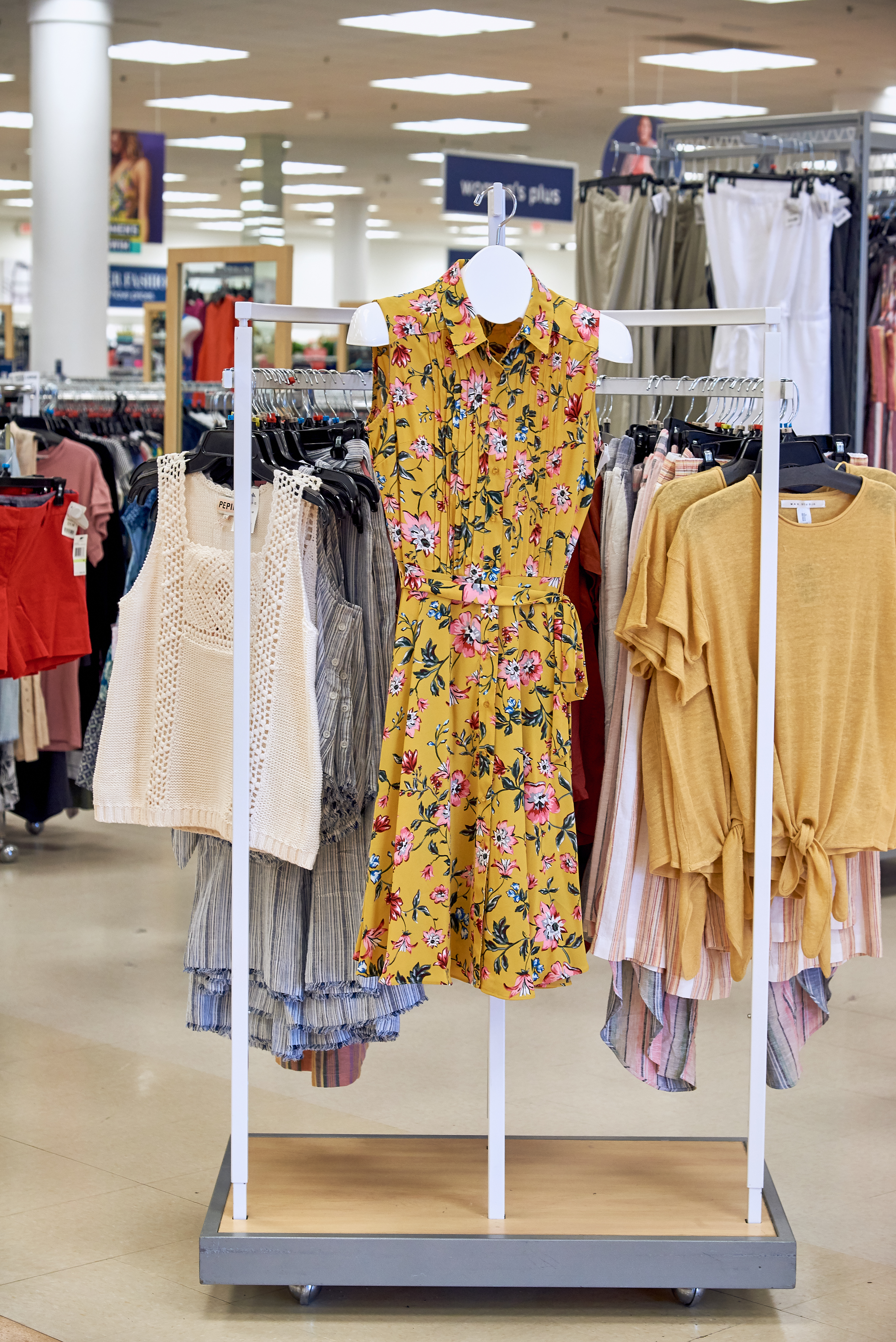Clothing in the style section of Marshalls.