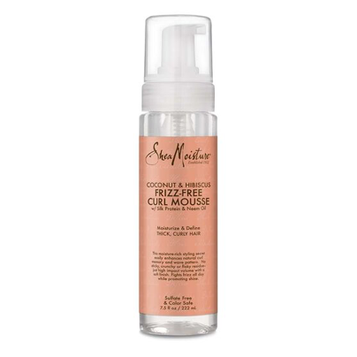 SheaMoisture Coconut & Hibiscus Frizz-Free Curl Mousse defines curls without leaving your hair feeling scrunchy or sticky.Sheamoisture.com, $12.