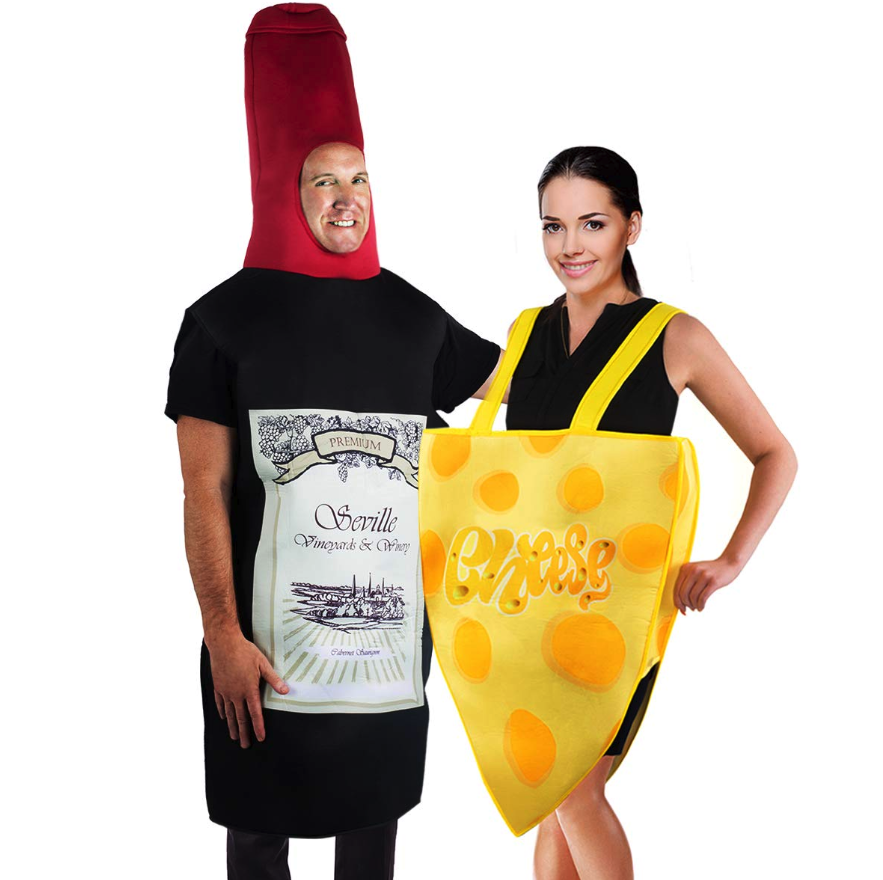 It's not a party until the wine and cheese appears. Bring an actual cheese tray and a couple bottles of wine to get the party started. This 2-piece unisex set includes one wine bottle costume and one slice of cheese costume.Buy: amazon.com, $31.99RELATED: No Costume? Try this easy Halloween makeup look.