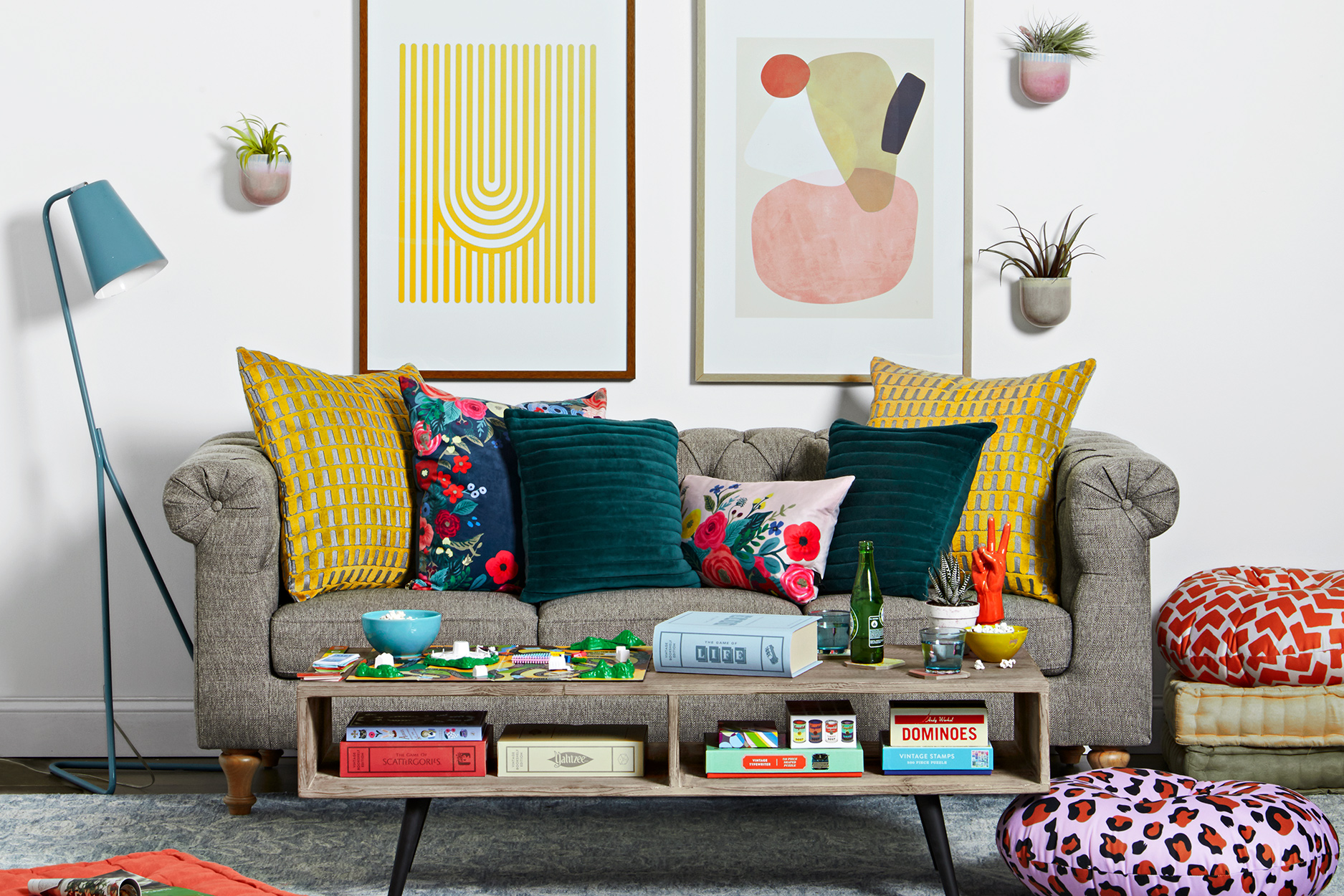 living room makeover colorful eclectic