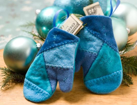 Blue Yule Mitten Ornaments