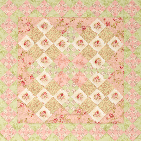 Floral Double Nine-Patch Quilt