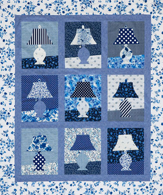 Appliqued Lamps Wall Quilt