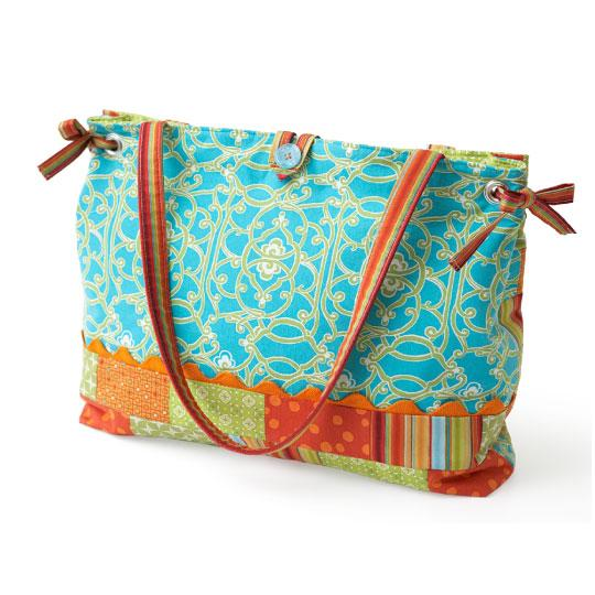 Patchwork Strips Tote Bag