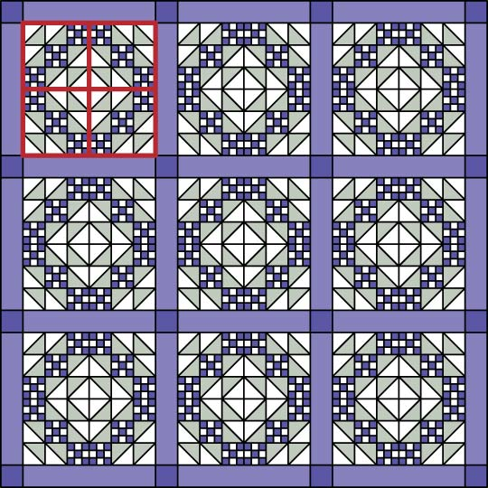 Straight Set with Sashing Strips and Squares
