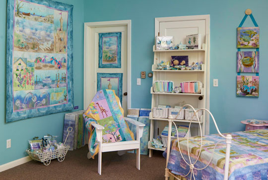 This sea-theme room in McKenna's shop features beachy blu