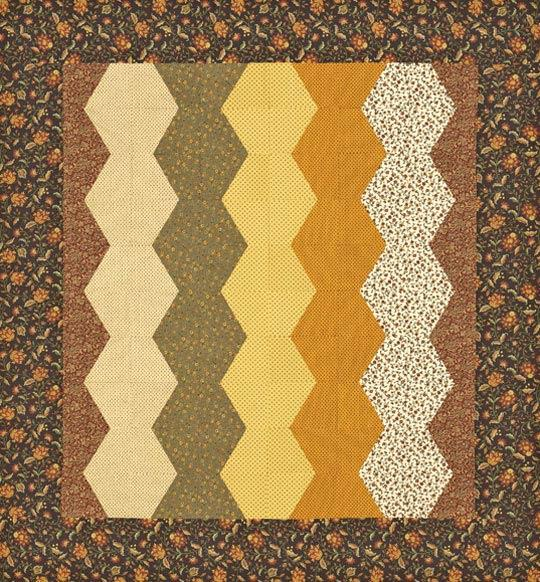 Fall Hexagons Bed Quilt